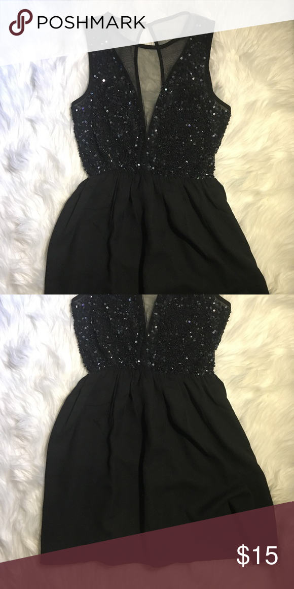 Black Sequin Dress Mesh Front And Back With Sequins Forever 21