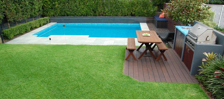 Inground pool in small backyard pools backyards for Garden city pool jobs