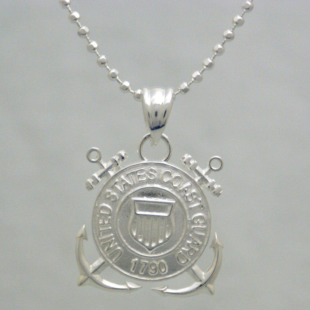 Us Coast Guard 925 Sterling Silver Necklace United States