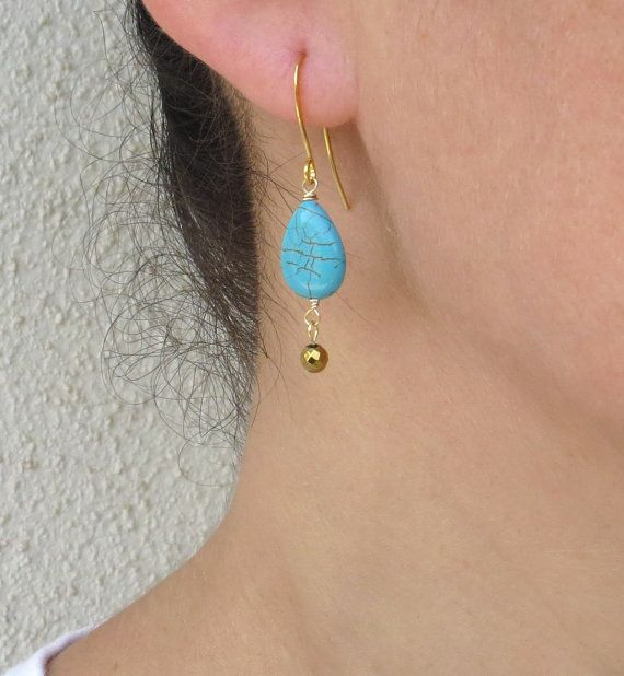 Christmas Turquoise Gold Earrings Hemae By Sarittdesigns