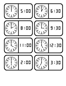 Telling Time Dominoes...Common Core Math Standard 1.MD.3