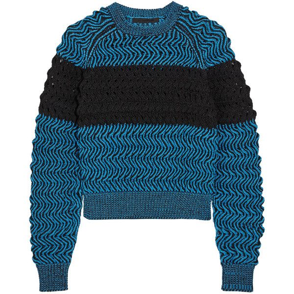 Alexander Wang Textured open-knit sweater ($345) ❤ liked on Polyvore featuring tops, sweaters, azure, alexander wang, alexander wang top, blue sweater, open-knit sweater ve loose fitting tops