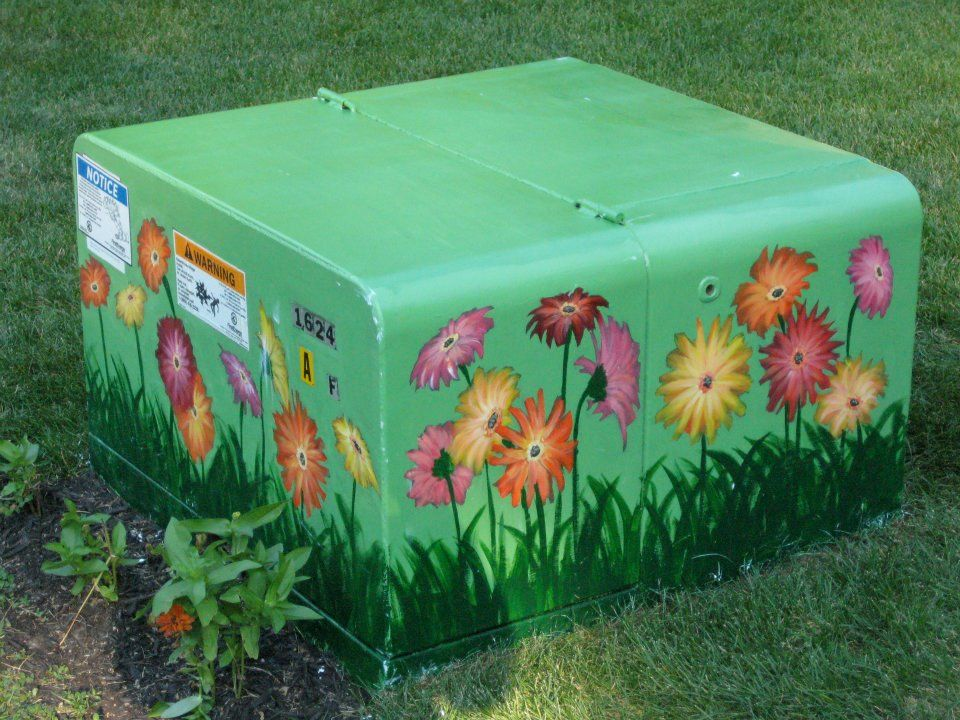 A Great Way To Fancy Up An Electrical Box That Unfortunately Lands On Your Yard Outside Paint Electric Box Painted Boxes