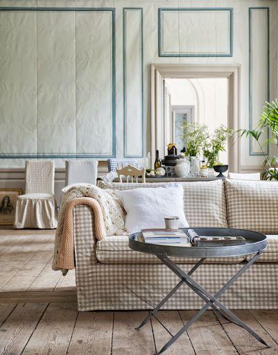 Bemz Cover For Karlstad Sofa, Loose Fit Urban, In Vreta Gingham Check  Beigeu0026White
