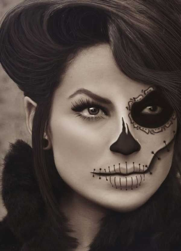 easy halloween makeup ideas - Skull Face Painting Ideas For Halloween