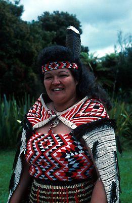 Maori Woman in Traditional Dress Whakawerawera, New Zealand