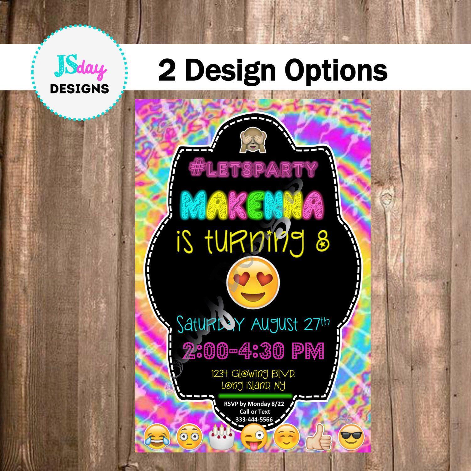 Emoji Invitations Emoji Invite tie dye Tween Teen Cell Phone