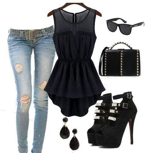 Black shirt with heel s