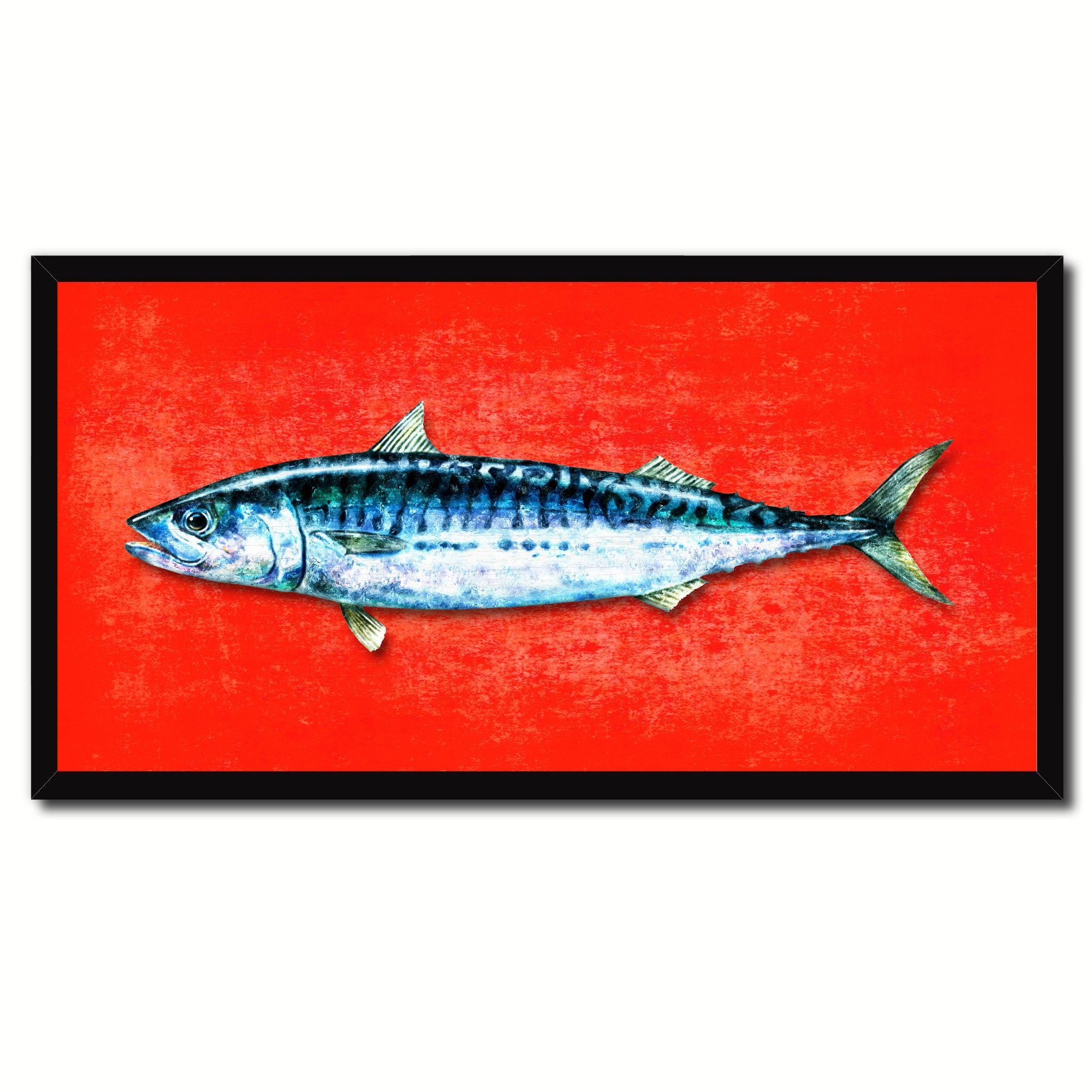 Nautical gifts for the home - Mackerel Fish Art Red Canvas Print Picture Frames Home Decor Nautical Fisherman Gifts