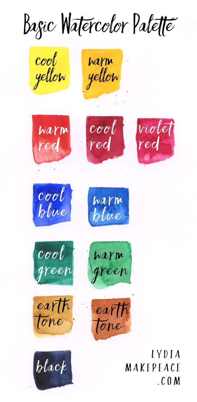 Basic Watercolor Palette 12 Essential Colors Watercolor Pallet