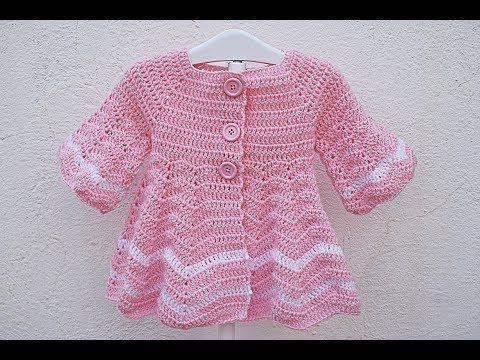 25bd01b26 Abrigo a crochet para niña 1 año capeado muy fácil - YouTube