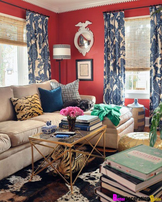 bold living room in red, white, and blue; Federal mirror [Jamie Meares of  Furbish Studio (in High Gloss magazine)]