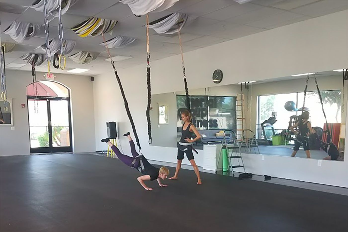 You Might Not Have To Go All The Way To Thailand To Try The Bungee Workout Anymore You Just Have To Trek To Th Bungee Workout Personal Training Studio Workout