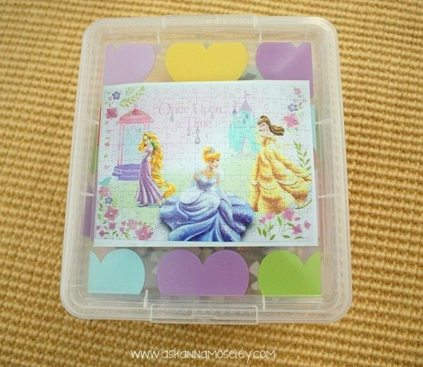 DIY Tutorial - organize kids puzzles by taking a photo of puzzle then  storing in stackable