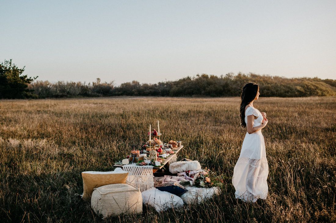 Silk and lace layered wedding dress featured in this outdoor