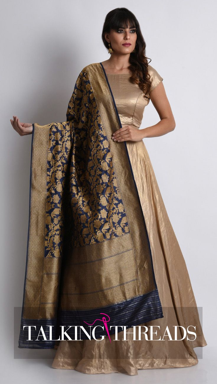 7a7f080ac90f0 Navy Blue Banarasi Pure Silk Dupatta With Crepe Tissue Crop Top   Skirt