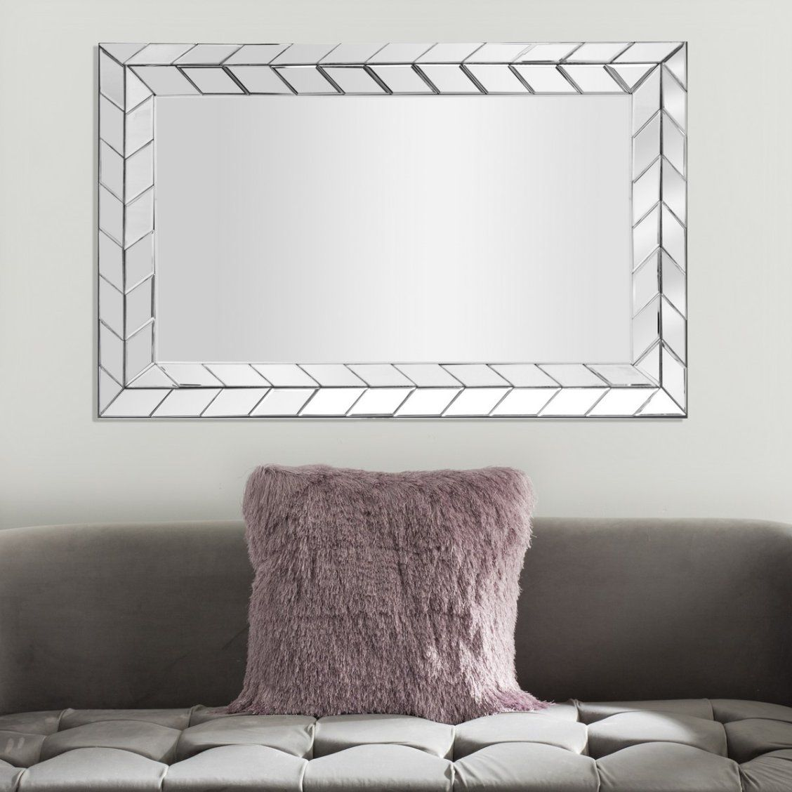 Inspired By The Sleek Art Deco Style This Contemporary Silver Mirror Is A New Classic Its Arrow Border Design B Framed Mirror Wall Frames On Wall Mirror Wall #silver #mirrors #for #living #room