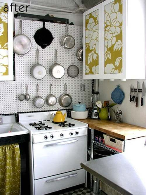 Ideas para Decorar Cocinas Pequeñas | mural con hojas ...