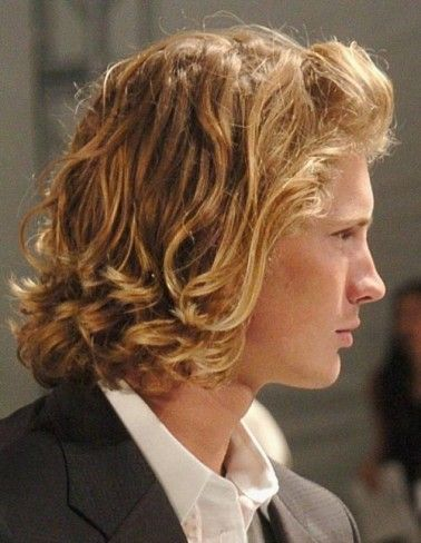 Curly Blonde Men Medium Length Hairstyles