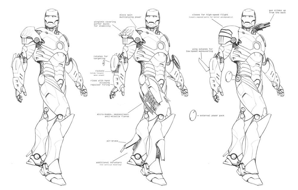 Functions Of Lines In Art : Iron man movie suit design line drawings