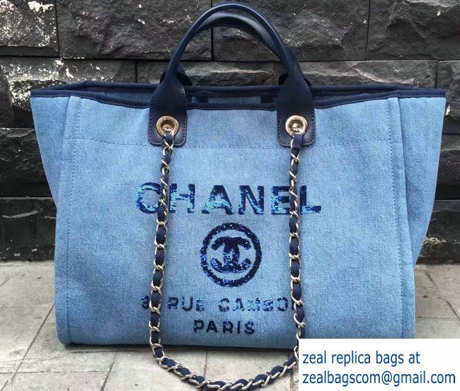Chanel Canvas with Sequins Deauville Tote Medium Shopping Bag A66941 Blue  2017 Chanel Canvas, Luxury 0b90980581