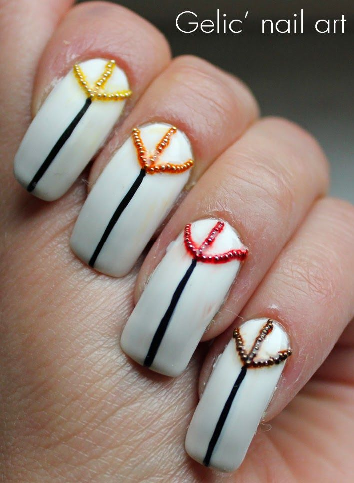 Gelic Nail Art Abstract Autumn Nail Art With Metal Beads Nail