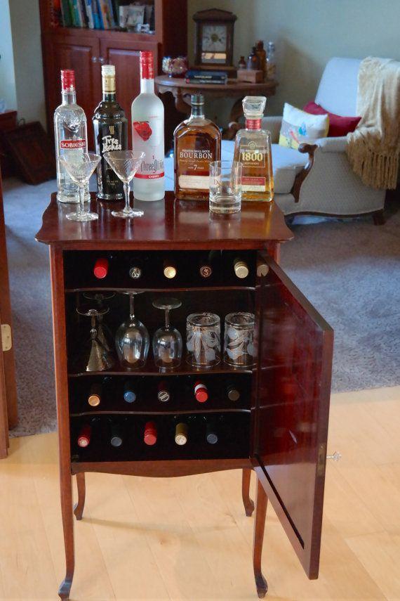 Antique Vintage Cocktail Wine Bar Serving Station, Record Music Cabinet,  Cocktail or Bar Cabinet by Antiquevintagefind on Etsy - Antique Vintage Cocktail Wine Bar Serving By Antiquevintagefind