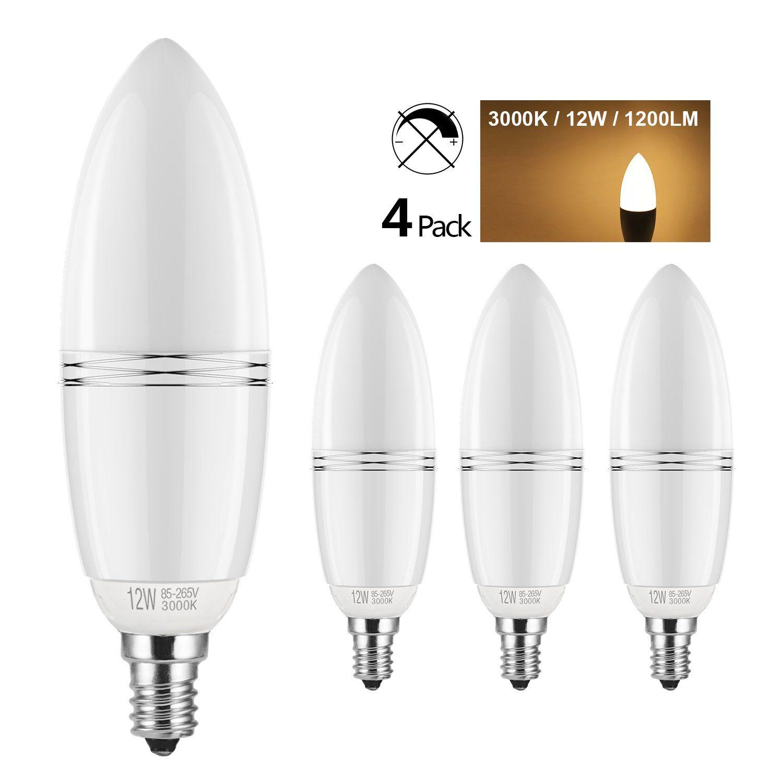 Yiizon Led E12 12w Candle Bulbs 100w Incandescent Equivalent Candelabra Led Light Bulbs 3000k Warm White 1200lm Cr Candle Bulbs Led Light Bulbs Led Lights