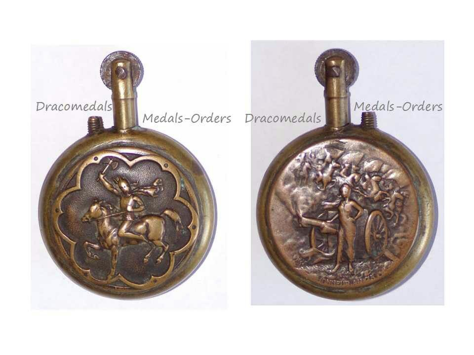 FRANCE: Trench art, petrol lighter with a Gaul horseman on