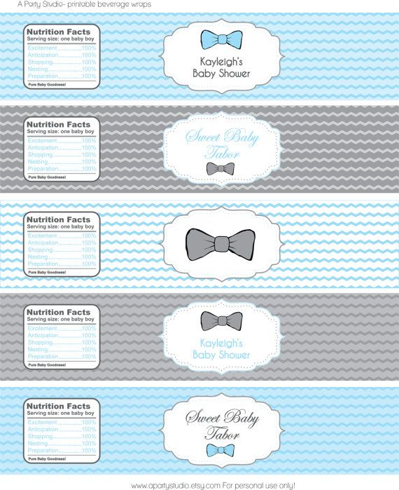 Items Similar To Modern Chic Bow Tie Baby Shower  Water Bottle Labels In  Blue And Grey  Print Your Own On Etsy