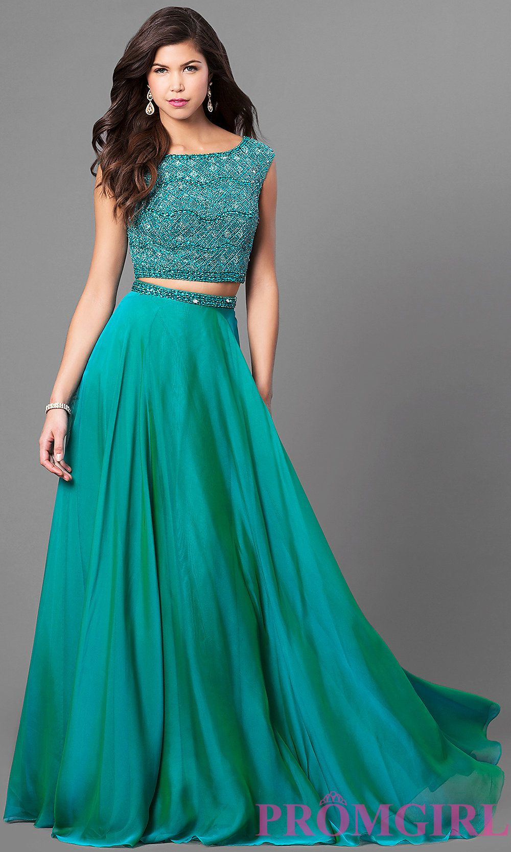 Long two piece Sherri Hill prom dress with a beaded top and a ...