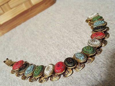 Beautiful Unusual Vintage Bracelet Elaborate  Scarab That has Mosiac Look