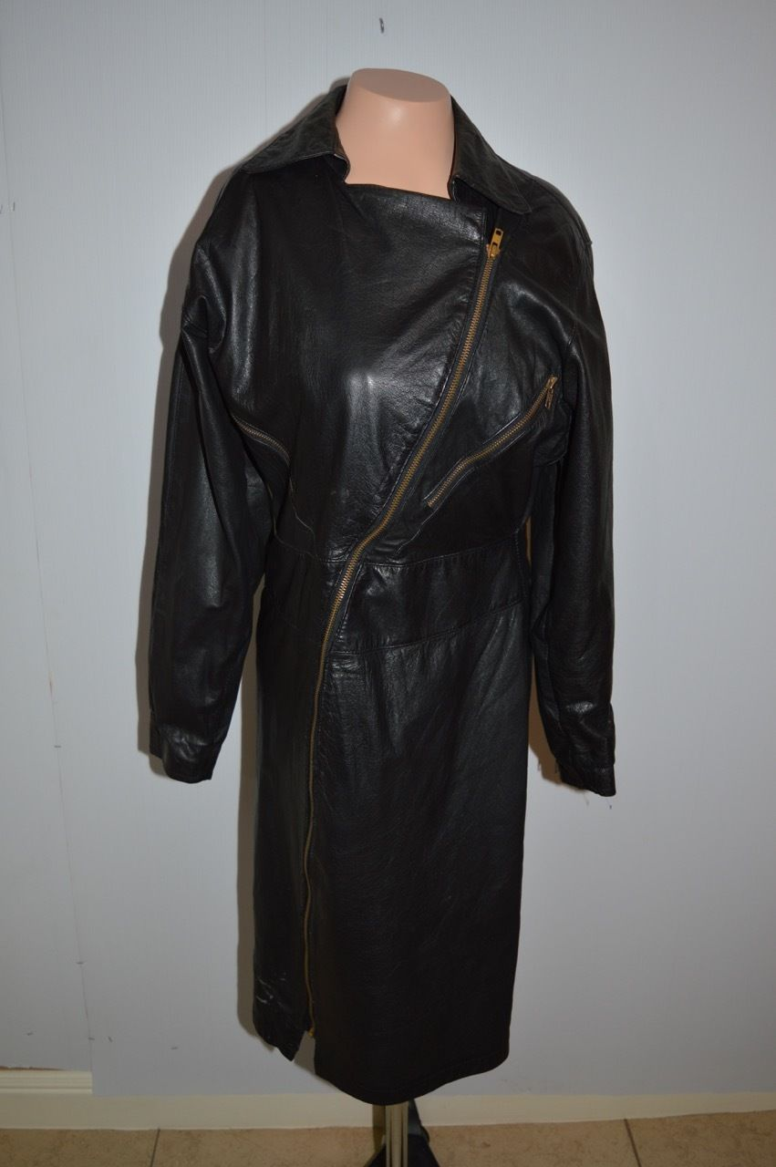 4995a516bdcc Vintage Ladies G-III Black Leather Trench Coat Jacket Long Sz Small Great  80  039 s in Clothing