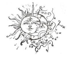 Half moon face half moon drawing half moon half sun face for Half sun half moon tattoo