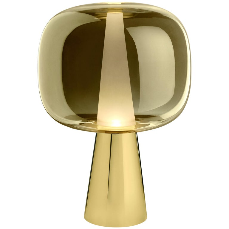 Ghidini 1961 Dusk Dawn Table Lamp In Brass And Metallic Glass By Branch Lamp Contemporary Table Lamps Modern Table Lamp