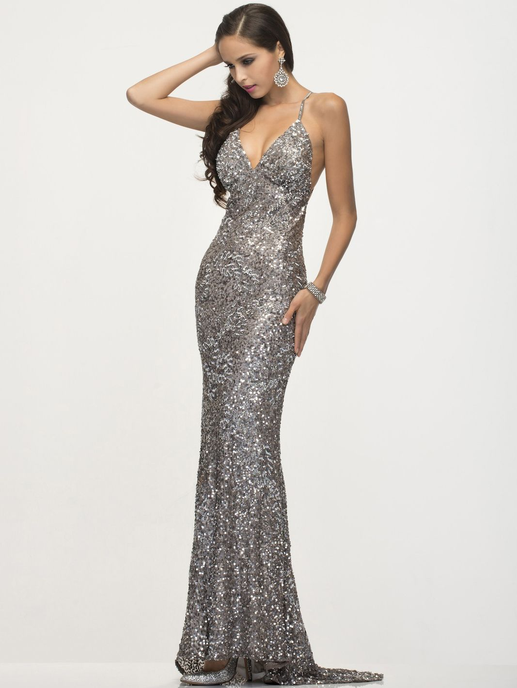SC47539 Platinum Prom Gown by Scala - Platinum, Front View Medium ...