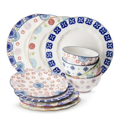 Boho Boutique Floral Ceramic Dinnerware Collection Dishes For New