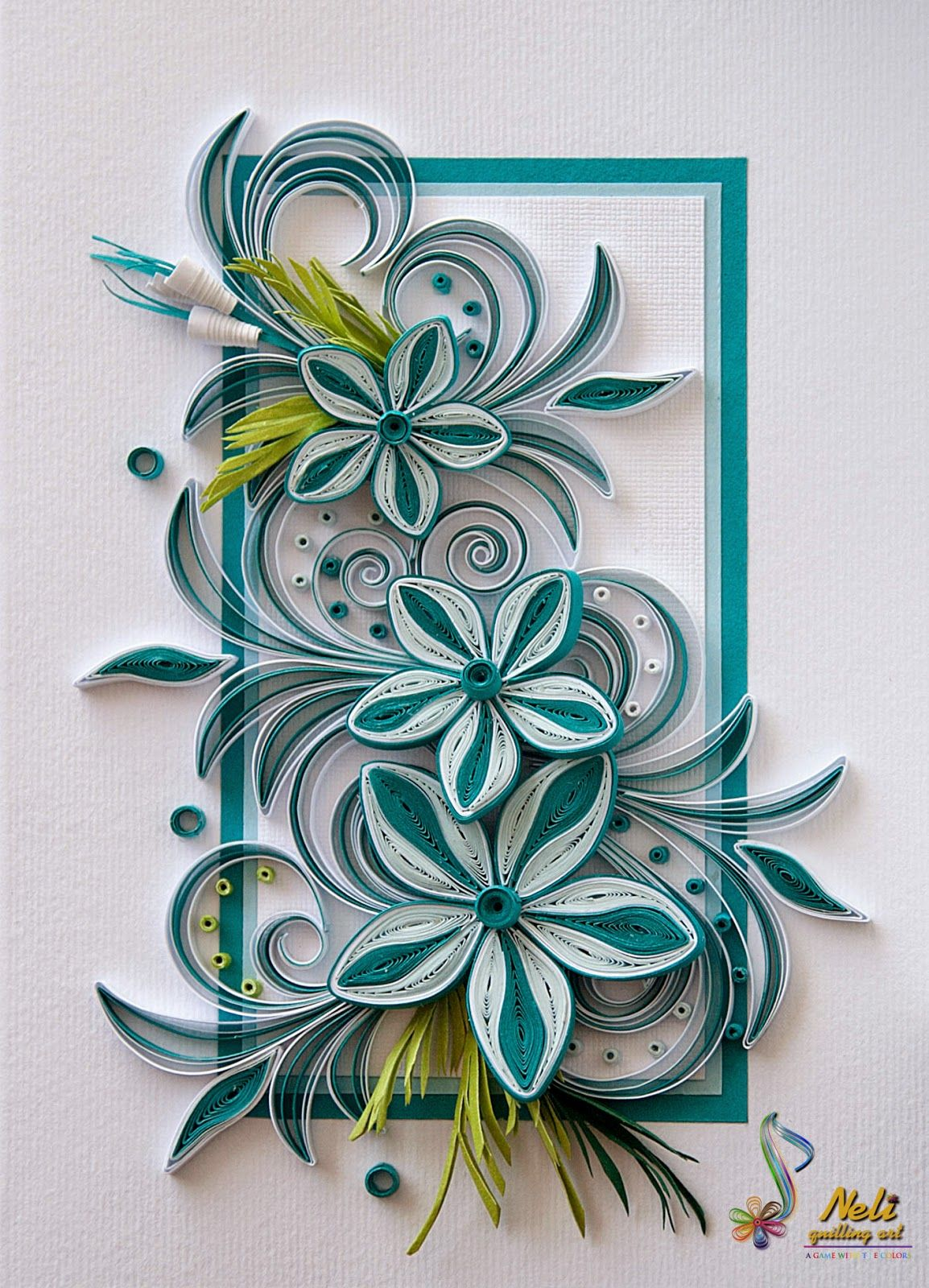 Pretty Teal And White Quilled Flowers Paper Craft Pinterest
