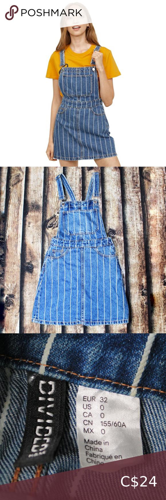 🎀3/$30 Divided H&M Striped Denim Overall Dress