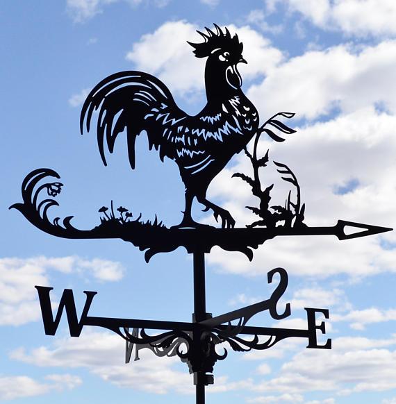 Iron Rooster Wind Decorative Weathervane Weather Vane Outdoor Garden Ornament