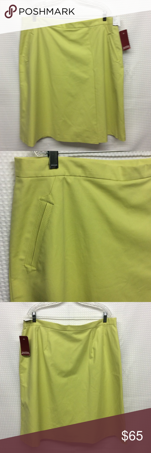 "LAFAYETTE 148 Chartreuse Skirt Plus Size 18P  NWT This very pretty Chartreuse Skirt from LAFAYETTE 148 New York, has the look of a wrap around. 96% cotton, 4% elastane, dry clean only. NWT! Plus Size 18 Petite. Unlined, front slant slip pockets with triple stitched border, side zipper with inside button. Waist 40"", hip 55"" a-line down to 68"", length 27"". Perfect for Spring and Summer! Thank you! Lafayette 148 New York Skirts A-Line or Full"