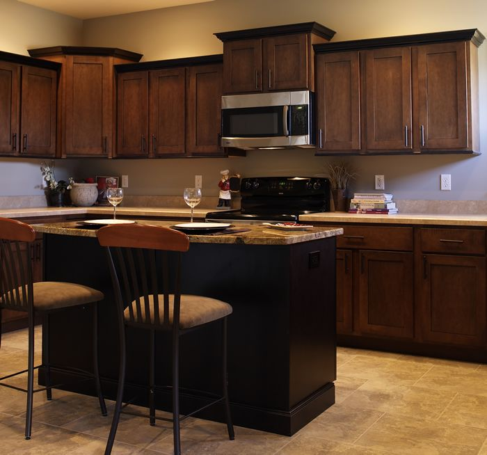 Black Glazed Kitchen Cabinets: Cabinets: Praline Maple With Black Glaze, Standard Overlay