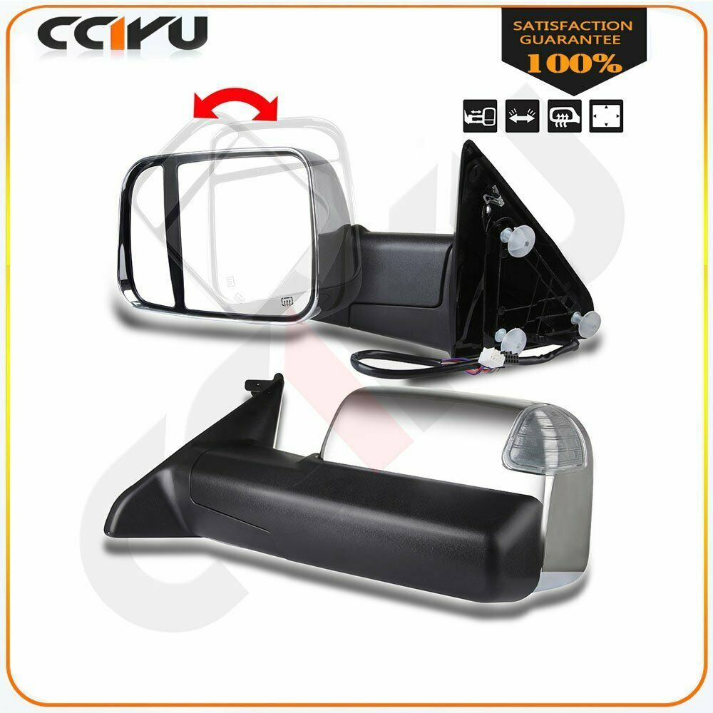 Sponsored Ebay Chrome Power Heated Puddle Signal Tow Side Mirrors Pair For 09 15 Ram 1500 3500 Side Mirror Ram 1500 Towing