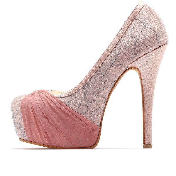 Custom Made Blush Pink Wedding Heels, Cover Toe Wedding Heels with Big... ($170) ❤ liked on Polyvore featuring shoes, pumps, pink platform pumps, peep toe pumps, peep toe platform pumps, bow pumps and hidden platform pumps