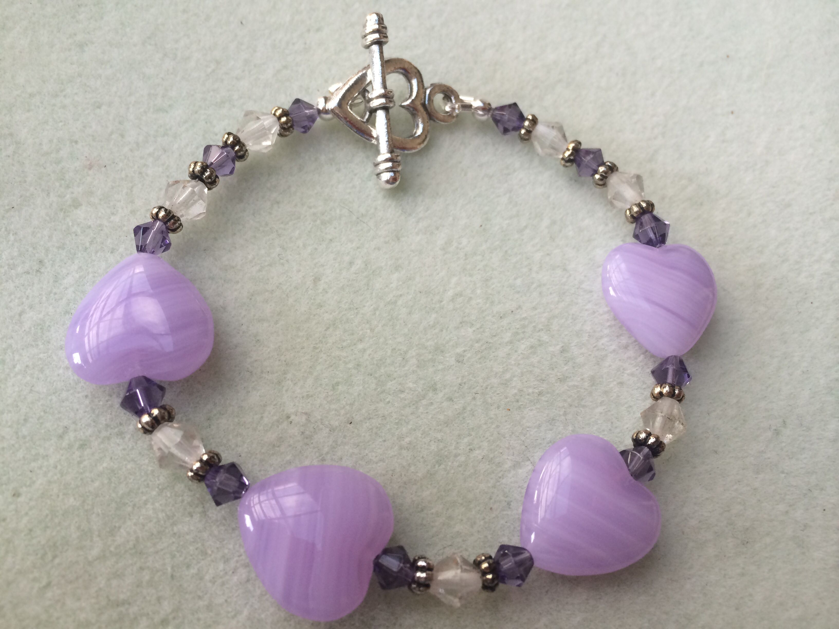 Opaque purple Czech glass beads, violet 4mm glass bicones, clear 6mm ...