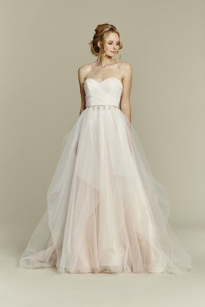 Blush by Hayley Paige Style 1556/Dolce  Cherry Blossom draped tulle ball gown, strapless sweetheart bodice and chandelier beaded belt at natural waist, full tulle skirt with pick up detail.