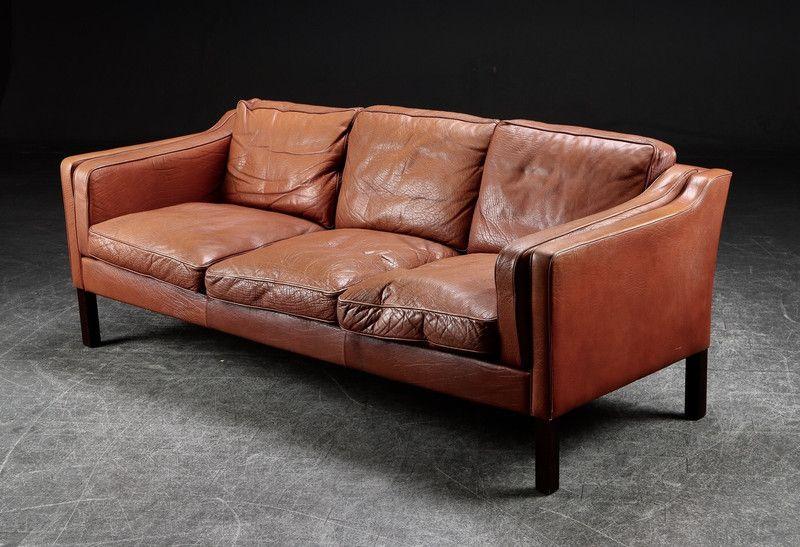 Vintage Sitzgarnituren Dänisch Vintage 3 Sitzer Ledersofa