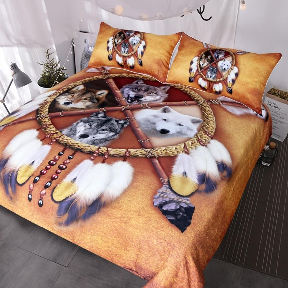 Wolves Dreamcatcher Bedding Set Native American Indian Wolf Duvet