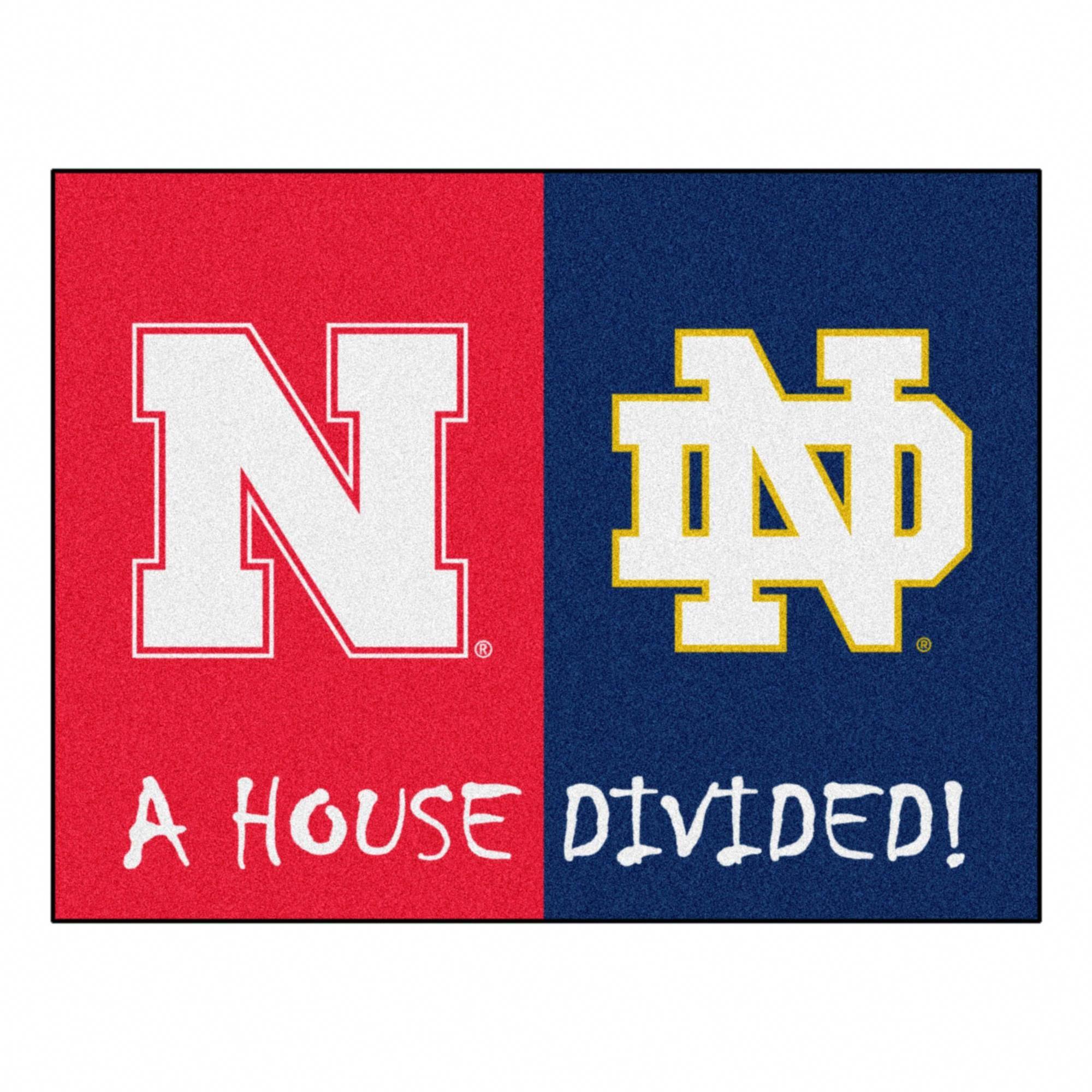 Ncaa 33 75 X42 5 House Divided Rug Nebraska Notre Dame Nebraska Notre Dame House Divided Nebraska Team Colors