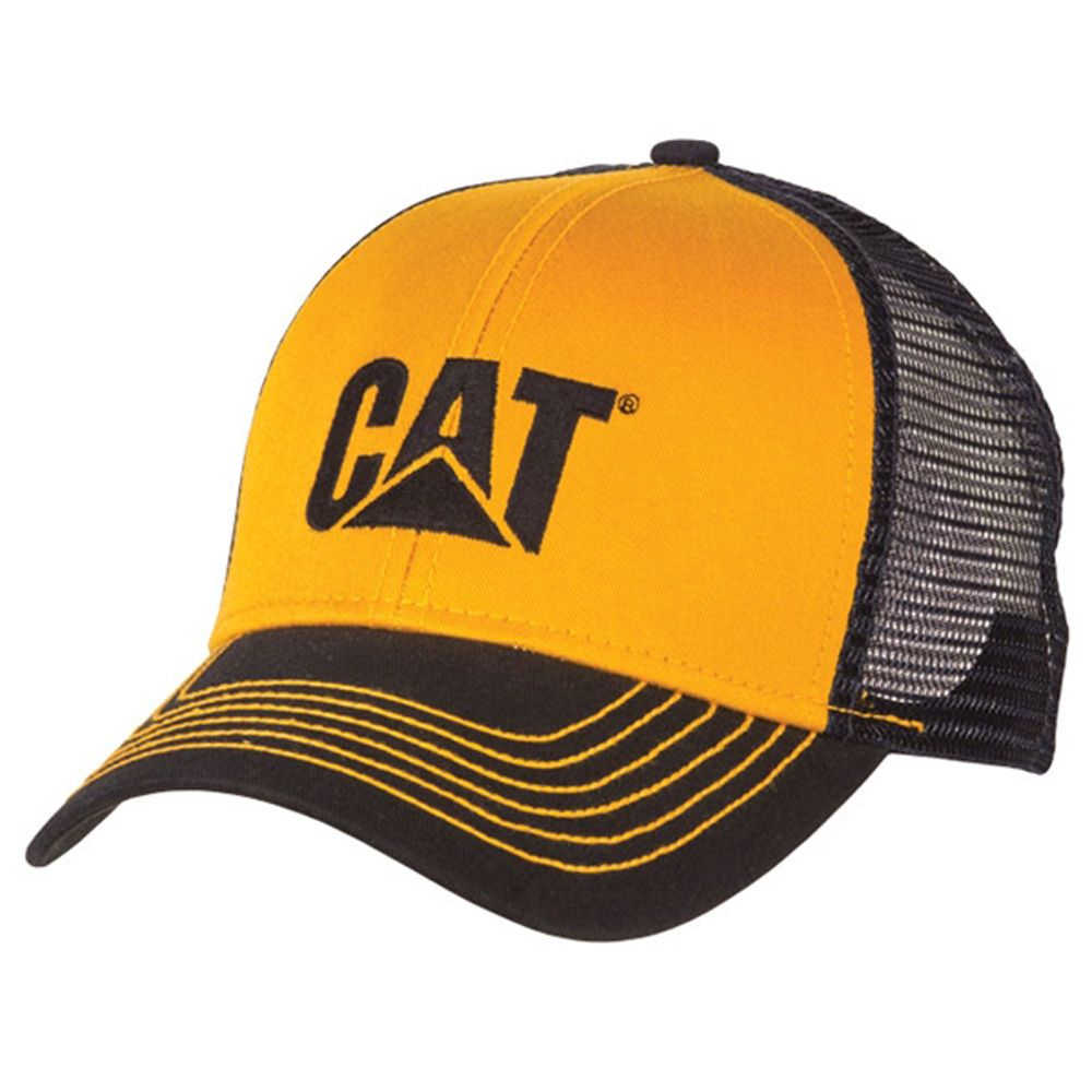 59c4a743 CAT Merchandise - CAT Caps - Caterpillar CAT Blue & Yellow Twill Mesh  Snapback Cap - Caterpillar Merchandise